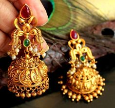 Your place to buy and sell all things handmade Indian Wedding Jewelry, Indian Jewelry, Bridal Jewelry, Indian Bridal, Silver Jewelry, Jhumka Designs, Gold Earrings Designs, Gold Jhumka Earrings, Indian Earrings