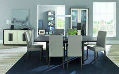 Cookes Collection Urban Weathered Oak 6-8 Extending Dining Table & 6 Taper Chairs in Pebble Grey from £1199