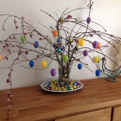 Spring branches from the garden, chocolate eggs and some decorative ones too for an Easter display.