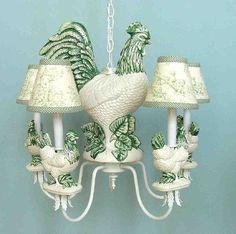 French Rooster Chandelier. Ceramic. Classic and Elegant!