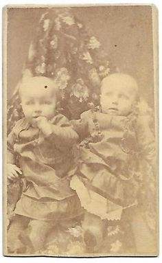Antique-Photo-CDV-Adams-Fam-Twins-Flora-Nora-Post-Mortem-Hidden-Mother
