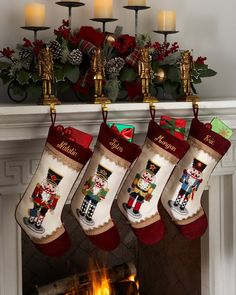 Needlepoint Nutcracker Christmas Stockings by Peking Handicraft at Neiman Marcus. Fireplace Mantel Christmas Decorations, Christmas Fireplace, Christmas Mantels, Noel Christmas, Christmas Themes, Christmas Crafts, Nutcracker Christmas Decorations, Nordic Christmas, Modern Christmas
