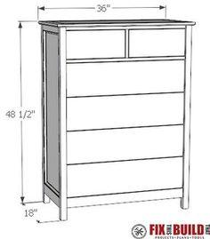 DIY Tall dresser plans pdf furniture bedroom dresser How to Build a DIY Dresser Drawer Tall Dresser) Diy Furniture Dresser, Diy Dresser Plans, Pallet Dresser, Wood Dresser, Bedroom Dressers, Bedroom Furniture, Dresser Ideas, Furniture Ideas, Baby Furniture