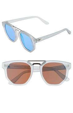 Le Specs 'Thunderdome' Sunglasses available at Clear Sunglasses, Mirrored Sunglasses, Sunglasses Women, Le Specs, Women's Accessories, Nordstrom, Eyewear, Sunnies