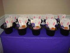 """Olivia's 8th birthday party... Magic party!  These magical favors were upside-down top hats with a nametag rabbit peeking out.  Inside kids found a magic wand, magic cards, a book of tricks, a coin trick, fortune-telling fish, magic """"rings"""" puzzles, and a Magic 8-ball keychain."""