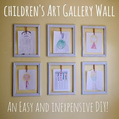 Kids Artwork Display Ideas – Easy Ideas for Displaying Kids Art school year) Childrens' Art Gallery Wall – This kids artwork display idea is a quick, easy, and inexpensive DIY solution to display (and rotate) children's ever growing collection of art. Displaying Kids Artwork, Artwork Display, Display Wall, Hanging Artwork, Hanging Kids Art, Display Boards, Artwork Wall, Wall Collage, Decoration Creche