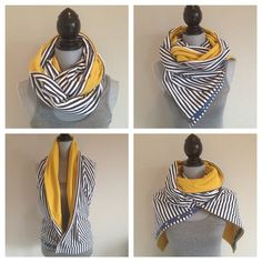Reversible jersey snap scarf in navy/white stripe by TheTeaRex