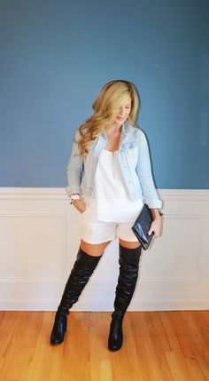 Outfitted411: Tall Boots, Short Shorts...thigh high boots, denim jacket, spring outfit