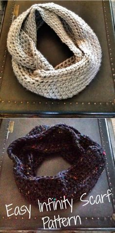 Easy Crochet Infinity Scarf Pattern - Love this pattern! It took two hours to make the first and just over an hour to make the second scarf. Crochet Video, Knit Or Crochet, Learn To Crochet, Crochet Scarves, Crochet Shawl, Crochet Crafts, Crochet Baby, Crochet Infinity Scarves, Crochet Woman