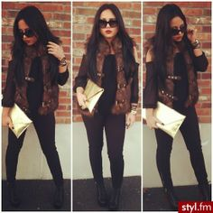 Dress up your black on black with a fur vest and accessories. winter wear