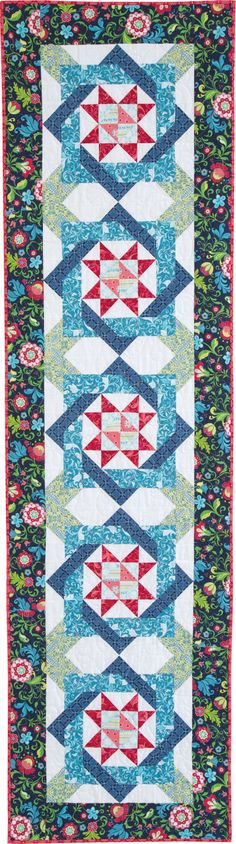 RING AROUND THE TOESIES by Kate Colleran: Cheerful prints from the Feathers and Flourishes collection by Amanda Murphy for Benartex give this bed runner lots of feminine charm. Pattern in the February/March 2017 issue of McCall's Quick Quilts magazine.