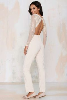 Glamorous Falling in Lace Jumpsuit. So pretty. Bachelorette or engagement party?