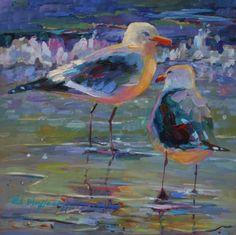 Seagulls Glowing In The Sunset....Elizabeth Blaylock