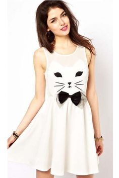 Cartoon bowknot & pussy cat pattern chiffon dress_daily dress_Dresses_CLOTHING_Voguec Shop