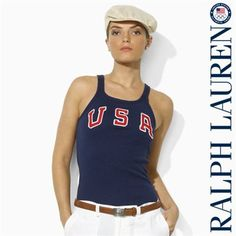 Ralph Lauren USA Women s Vintage Tank Top - Navy Blue Korea Winter  Olympics 583fc3a10e