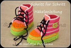 *Anleitung zum Häkeln Babychucks*    +Die Schuhe zu häkeln ist einfach. Können müsst ihr nur Luftmaschen, feste Maschen, Kettmaschen, halbe Stäbchen u