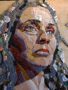 Mosaic Portrait, Portrait Art, Portraits, Mosaic Artwork, Mosaic Madness, Glass Mosaic Tiles, Stone Art, Face Art, Art Lessons