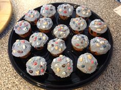 Cupcakes to go along with the Rock Wall Climbing Cake.