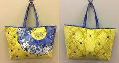 Flower tote bag fan template included in instructions. Fabric Handbags, Fabric Bags, Patchwork Bags, Quilted Bag, Painted Bags, Diy Purse, Craft Bags, Cute Bags, Handmade Bags