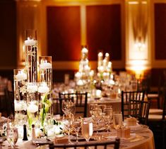 Floating candle centerpieces #wedding #reception