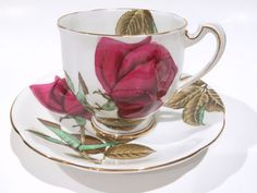 Large Red Rose Royal Standard Tea Cup and Saucer