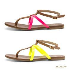 Lleva los tonos neón en tus pies con nuestras #sandalias T-bar Vaqueta. ¿En qué #color las prefieres? #neon #pink #yellow #Brantano #primavera #verano #2013 #shoes