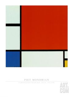 Composition with Red Blue Yellow Art Print by Piet Mondrian at Art.com
