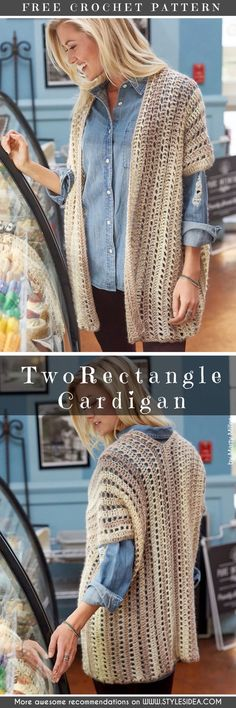 Two-Rectangle Caridgan free crochet pattern in Unforgettable yarn. Two-Rectangle Caridgan free crochet pattern in Unforgettable yarn. Crochet Scarves, Crochet Shawl, Easy Crochet, Crochet Clothes, Knit Crochet, Crochet Sweaters, Crochet Edgings, Crochet Motif, Crochet Cardigan Pattern Free Women