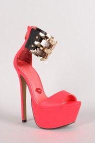 Flaunt Neon Metallic Ankle Cuff Stiletto Platform Heel