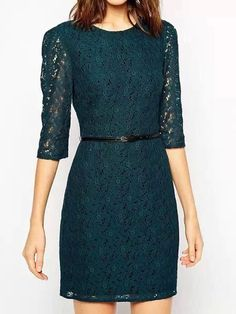 Dark Green Floral Crochet Lace Half Sleeve Dress   Persunmall
