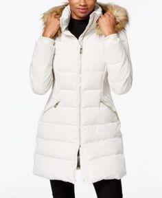 Ivanka Trump Faux-Fur-Trim Down Puffer Coat  - Tan/Beige XXL