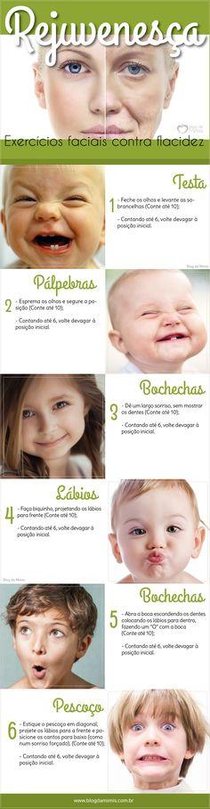 Exercícios faciais contra flacidez - Blog da Mimis #infográfico #blogdamimis #flacidez #exercício #rosto #rejuvenescimento