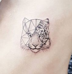 unique Tiny Tattoo Idea - #Tattoo of a tiger geometrically minimalistic tattoo...