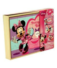 This Disney Bow-tique Minnie Mouse wooden puzzle set is packaged in a sturdy wood box with slide out top. The top piece of wood box slides o...