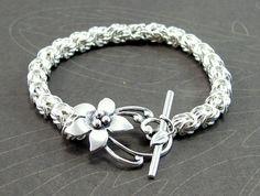 Bracelet, Rosetta Weave, Chain Maille, Sterling Silver by Etsy seller RiverGum Jewellery.