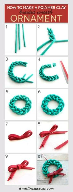 Handmade Braided Wreath Ornament – a quick and simple DIY Christmas project for someone new to Polymer Clay. : Handmade Braided Wreath Ornament – a quick and simple DIY Christmas project for someone new to Polymer Clay. Polymer Clay Ornaments, Polymer Clay Charms, Polymer Clay Projects, Polymer Clay Creations, Diy Clay, Clay Crafts, Polymer Clay Jewelry, Polymer Clay Christmas, Diy Christmas Ornaments