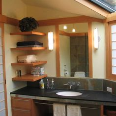 Asian Home floating shelves Design Ideas, Pictures, Remodel and Decor