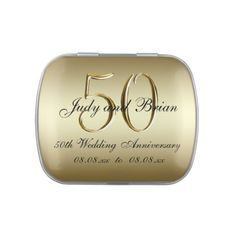 Gold Black 50th Wedding Anniversary Favor Jelly Belly Candy Tin