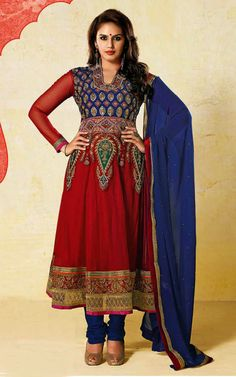 RED  BLUE GEORGETTE ANARKALI SALWAR KAMEEZ - BL 7214