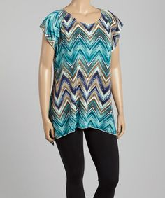$19.99 Love this Turquoise Zigzag Embellished Sidetail Tunic - Plus on #zulily! #zulilyfinds