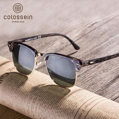 8cc56937eaf COLOSSEIN Polarized Sunglasses Women Half Frame Handmade Men Retro Glasses  Brand Designer UV400 2018 Fashion Oculos