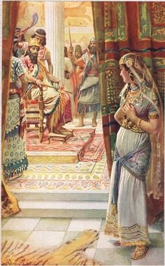 Esther, illustration from 'Women of the Bible', published by The Religious Tract Society, 1927 by Harold Copping ~ Biblical Old Testament art