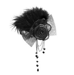 Gothic Rose And Feather Brooch