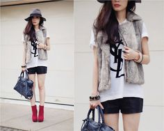 U.O. Faux Leather Shorts, Yves Saint Laurent Logo T Shirt, Dolce Vita Jemma Boots In Wine, Balenciaga City Bag