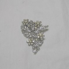1980s Vintage Rhinestone and Silver Tone Brooch or Pin with Flowers & Leaves, ~~by Victorian Wardrobe by VictorianWardrobe on Etsy