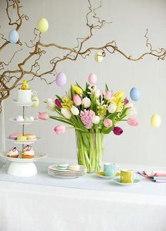 Beautiful 30 Easter centerpiece ideas With our easy spring table decor ideas and best centerpieces, Easter Flowers, Easter Tree, Easter Wreaths, Easter Eggs, Easter Table Decorations, Easter Decor, Spring Decorations, Easter Centerpiece, Centerpiece Ideas