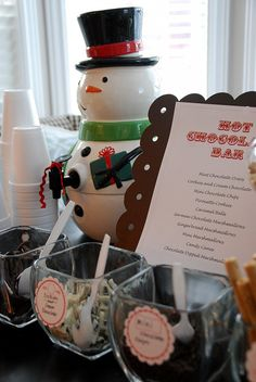hot chocolate bar - cute idea for cookie exchange or kid's Christmas craft party