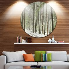 Designart 'Spring Beech Forest Scenery' Landscape Photo Round Wall Art