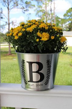 Monogram bucket, milk can decal, pot decal, decal for planter, farmhouse decor, flower pot decal, bucket decal, rustic decor, monogram
