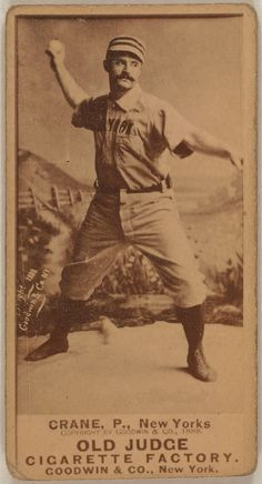 1888, Cannonball Crane, New York Giants, baseball card;  Card set: Old Judge (N172)